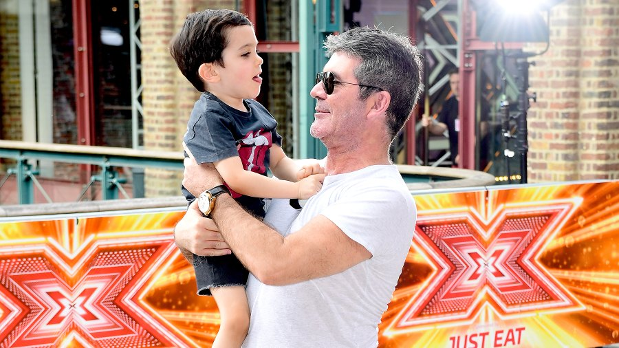 Simon Cowell and son Eric Cowell attending X Factor filming at Tobacco Dock, Wapping Lane, London.