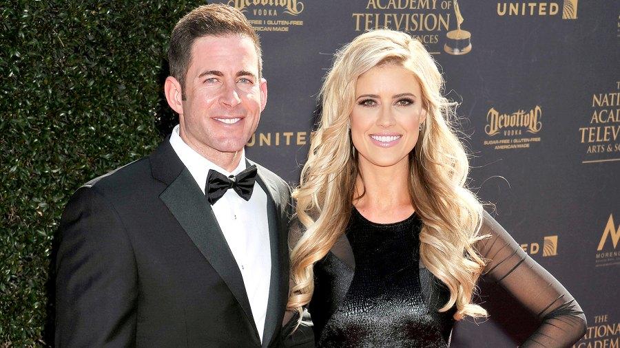Christina El Moussa and Tarek El Moussa arrive at the 44th Annual Daytime Emmy Awards at Pasadena Civic Auditorium on April 30, 2017 in Pasadena, California.