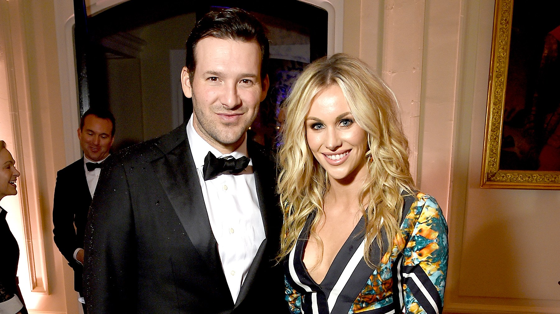 Tony Romo and Candice Crawford attend the Bloomberg & Vanity Fair cocktail reception following the 2015 WHCA Dinner at the residence of the French Ambassador on April 25, 2015 in Washington, DC.