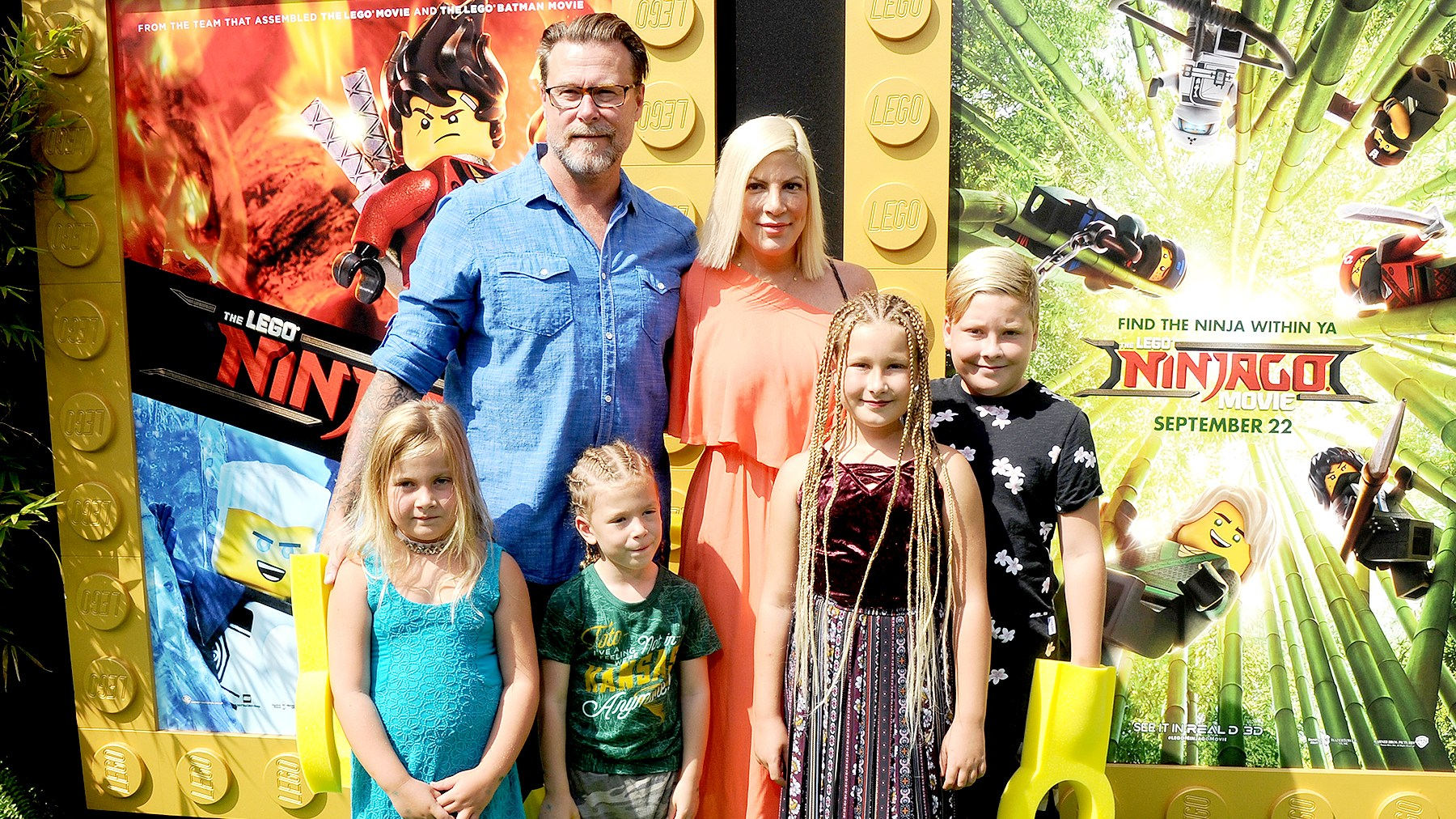 "Tori Spelling, Dean McDermott and children arrive at the premiere of Warner Bros. Pictures' ""The LEGO Ninjago Movie"" at Regency Village Theatre on September 16, 2017 in Westwood, California."
