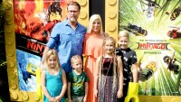 """Tori Spelling, Dean McDermott and children arrive at the premiere of Warner Bros. Pictures' """"The LEGO Ninjago Movie"""" at Regency Village Theatre on September 16, 2017 in Westwood, California."""