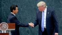 Mexican President Enrique Peña Nieto greets Donald Trump during a meeting at Los Pinos in Mexico City, Mexico, on August 31, 2016.