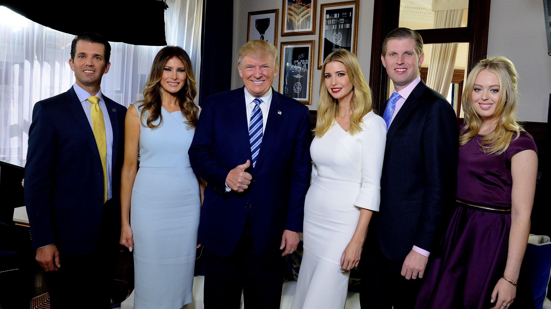 Donald Trump, Donald Trump Jr., Melania Trump, Ivanka Trump, Eric Trump, Tiffany Trump