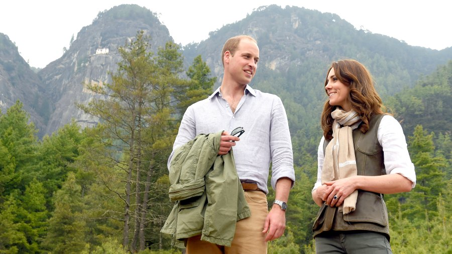Catherine, Duchess of Cambridge and Prince William, Duke of Cambridge after their trek to the Tiger's Nest Monastery during a visit to Bhutan on the 15th April 2016 in Thimphu, Bhutan.