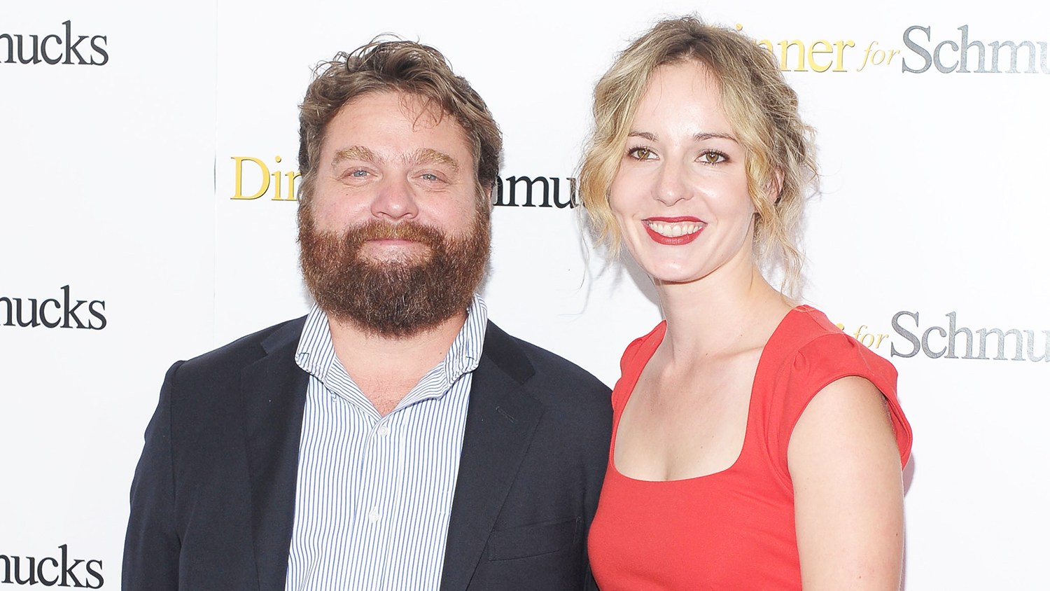 """Actor Zach Galifianakis and Quinn Lundberg attend the """"Dinner For Schmucks"""" premiere at the Ziegfeld Theatre on July 19, 2010 in New York City."""
