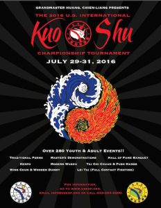 2016 US International Kuo Shu Championship Tournament will be held July 29 -31st at Hunt Valley, Maryland. The tournament activities will be held at the Baltimore Hunt Valley Inn Wyndham..