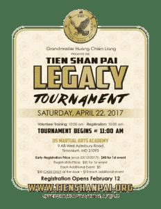 Tien Shan Pai Legacy Tournament 2017 poster - Tien Shan Pai and Tai Chi tournament