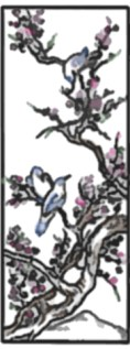 in the Chinese style drawing of spring birds and blossoms