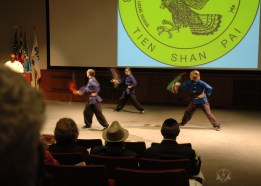 On April 21st, to celebrate his 40th anniversary of teaching in the U.S. Grandmaster Huang hosted the Tien Shan Pai Charity Demonstration at the Kossiakoff Center Auditorium of the Johns Hopkins Applied Physics Laboratory, (APL), Laurel, Maryland. US Martial Arts Academy, Ltd Black Sash students performed a broadsword form at the Tien Shan Pai Charity Demonstration a broadsword form. Funds raised were donated to Sparks of Change Foundation in honor of Daniel Siegel.