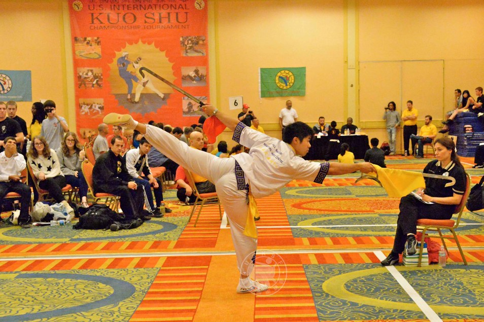 weapons form at the 2013U.S. International Kuo Shu Championship Tournament in Hunt Valley, Maryland