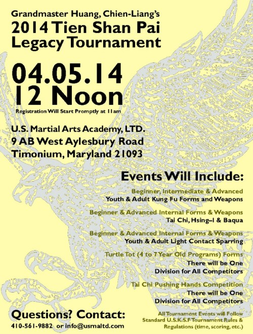 2014 Tien Shan Pai Legacy Tournament event flyer