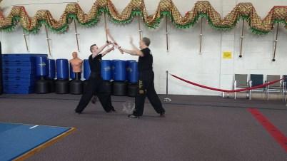Broadsword practice in Black Sash Class at US Martial Arts Acade