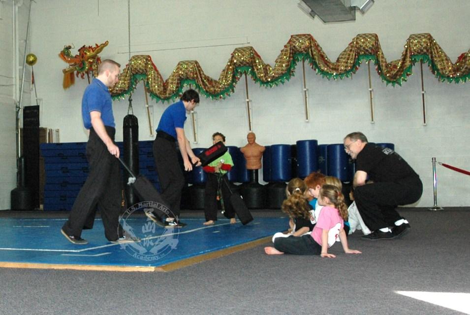 Blocker practice in Kung Fu Kids children's self defense class at US Martial Arts Academy, Ltd in Timonium, Maryland 21093