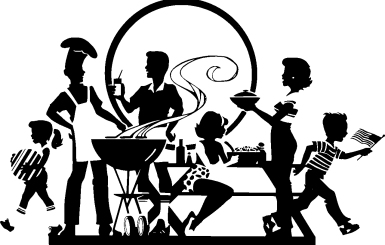 Black and white illustration of family barbecue.  Barbecue image by ClkerFreeVectorImages available at Pixabay.com