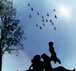 Silhouette of a Family outdoors