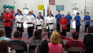 US Martial Arts Academy, Ltd's new First Degree Black Sash recipients, staff and assistants - Tien Shan Pai practioners of Chinese Kung Fu who participated in Feb. 25 2017 Black Sash Test at the school in Timonium, Maryland 21093
