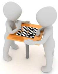 figures playing chess derived from Public Domain picture from Pixabay.com artist 3Dman_eu