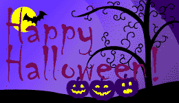 USMALtd.com's Happy Halloween greeting Night sky with full moon, bat and pumpkins on a bare tree purple background.