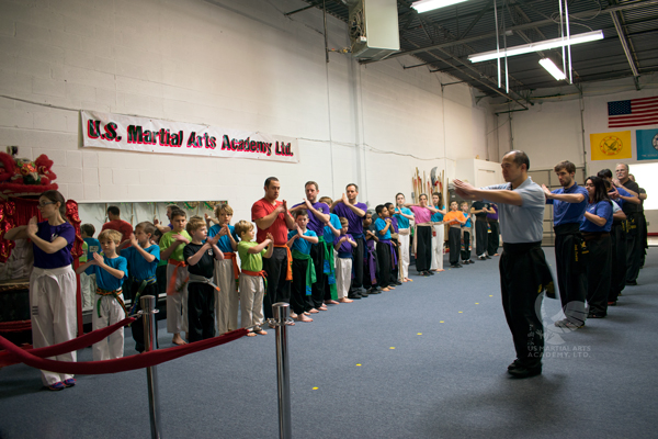 Showing Respect in the Family Kung Fu Class at US Martial Arts Academy, Ltd in Cockeysville, Maryland, www.usmaltd.com, 410-561-9882. ©2020 Maricar Jakubowski   All rights reserved. No usage allowed in any form without the written consent of the photographer.