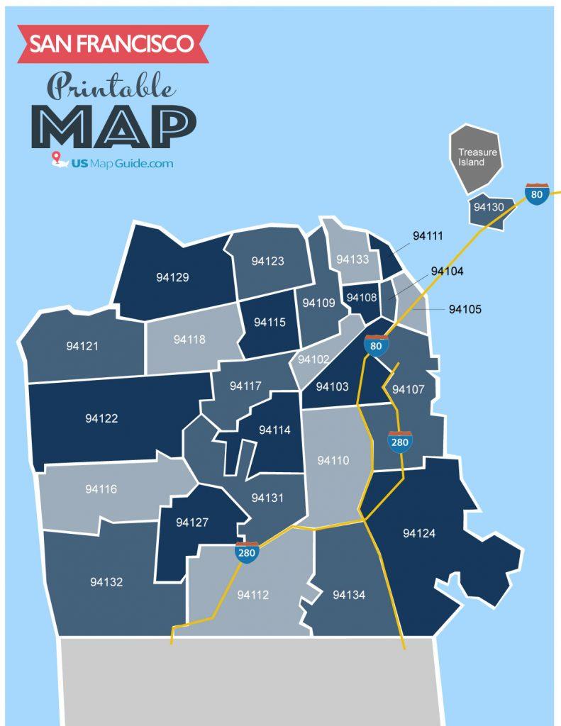 San Francisco Ca Zip Code Map Updated 2020