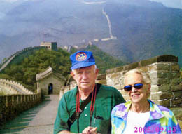Bob & Mary-Carter on the Great Wall, 2005, one of about 30 trips to foreign climes. This photo was used in St. Petersburg Times w/50th anniversary piece.