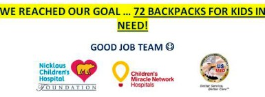 Backpack Program Goal Reached