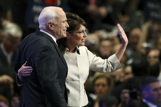Sen. John McCain and Gov. Sarah Palin together at Xcel Energy Center in St. Paul, Minnesota. (Justin Sullivan/Getty Images)