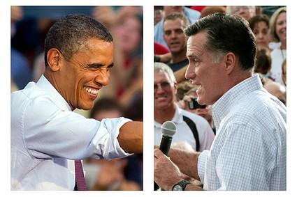 President Barack Obama and Republican presidential candidate Mitt Romney, right, campaign in swing states in August 2012.