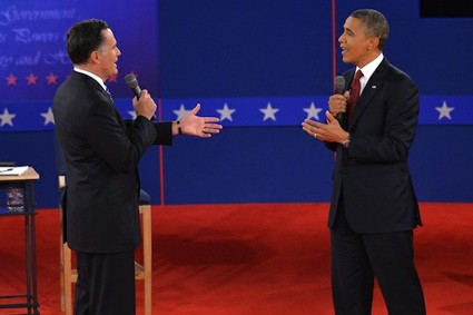 Mitt Romney and Barack Obama debate on Oct. 16, 2012, during the second of three presidential debates at Hofstra University in Hempstead, N.Y.