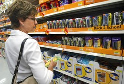 Palatine, Illinois school teacher Judy Lindsey shops for back-to-school items in a Wal-Mart store July 28, 2003 in Rolling Meadows, Illinois.