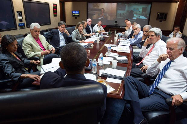 President Barack Obama meets in the Situation Room with his national security advisors to discuss strategy in Syria. Several top advisors will make the case for intervention to Congress Tuesday afternoon.