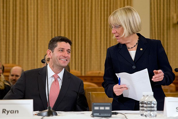 House Budget Committee Chairman Rep. Paul Ryan, R-Wis., and Senate Budget Committee Chair Sen. Patty Murray, D-Wash., arrive at a Congressional Budget Conference on Capitol Hill in Washington.