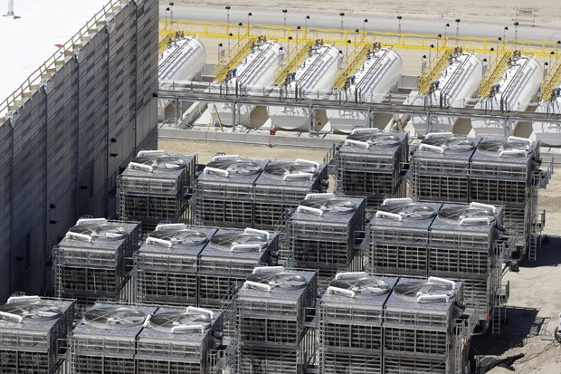 Cooling units at the National Security Agency's Utah Data Center in Bluffdale, Utah, are seen in this June 6, 2013, aerial photo. Electrical failures are complicating the opening of the NSA's largest data storage center.