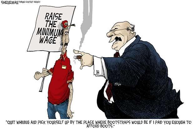 Editorial cartoon satirizing big business.