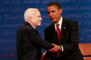 Democratic presidential candidate U.S. Sen. Barack Obama (L) (D-IL) and Republican presidential candidate U.S. Sen. John McCain (R-AZ) shake hands at the beginning of the first of three presidential debates.