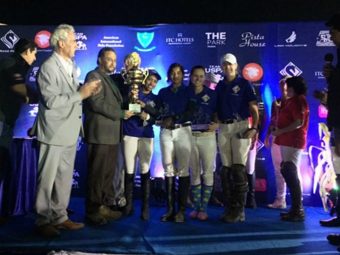 First International Women's Arena Night Polo Tournament Champions: Nasr Polo Blue - Namrata Kishore, Chaya Vaibase, Audry Persano, Anna Winslow.