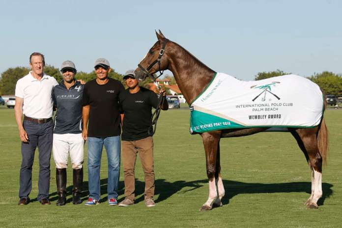 International Polo Club Wembley Award: Sultan, played and owned by Rodrigo De Andrade, pictured with USPA Secretary Stewart Armstrong.