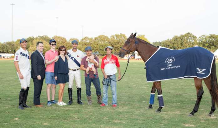 Best Playing Pony Professional: Princessa played by Mason Wroe, owned by BTA, pictured with Steve Krueger, Douglas Drummond with Geo. H. Lewis & Sons, Henry Wessel and Marcy Taub Wessel, Miguel Alvarez with son Antonio and Agustin Linfossi.