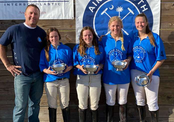 Southeastern Interscholastic Open Regional Champions: Aiken Youth Polo Left to Right: Robyn Leitner, Reagan Leitner, Summer Kneece, Sophie Grant, with coach Tiger Kneece