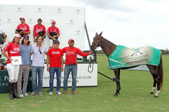 Best Playing Pony Carlos Gracida Cup Final: Fanta, pictured with Gillian Johnston, Nano Gracida, Miguel Novillo Astrada, Miguel Lagos and Sergio Arias.