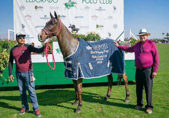 Best Playing Pony: Monje - played and owned by Marcos Llambias (not pictured due to injury), presented by Fred Mannix and pictured with Jorge Osbaldo Sanchez.