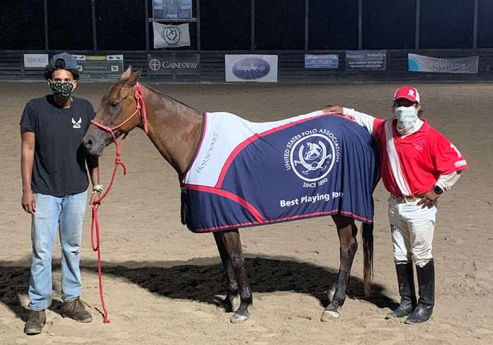 Best Playing Pony Rosko, owned by Gainesway Farm, played by Jorge Vasquez, pictured with Alberdi Maldonado.
