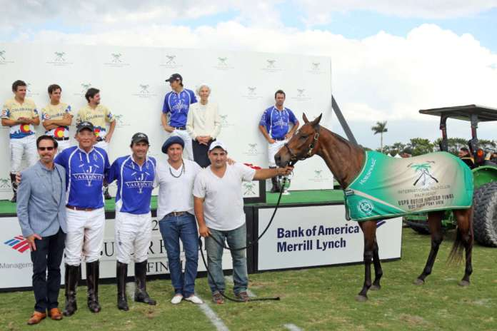 Best Playing Pony Butler Handicap Final: Tanita, played by Adolfo Cambiaso, owned by J5 Equestrian, pictured with USPA CEO Bob Puetz, Bob Jornayvaz, Cristian Rey, and Carlitos Ochoa.