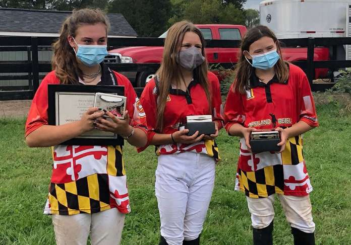 2020 Southeastern Region Middle School Tournament champions: Maryland Red (L to R) Kylie Beard, Mallory Marquis, Azlyn Wine. ©Kelly Wells