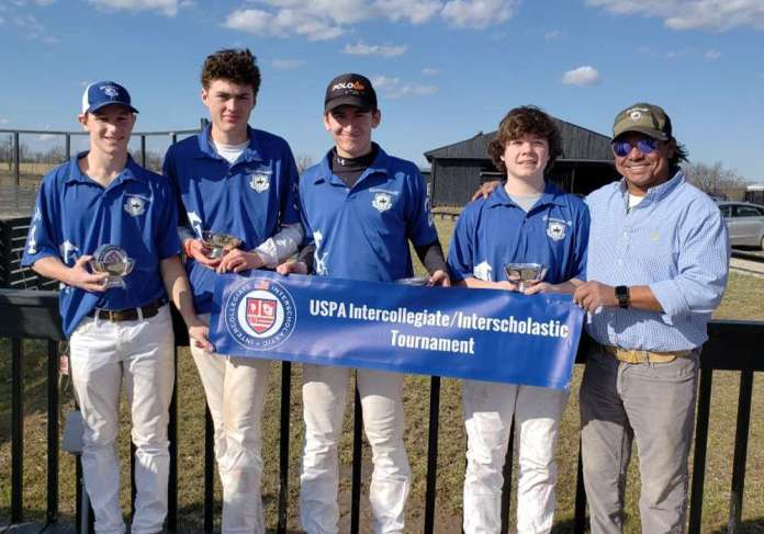 Coach Jorge Vasquez with Central Open Preliminary Winners Commonwealth Polo Club. Pictured are Ford Middendorf, Angus Middleton, Patricio Fraga and Stuart Boland.