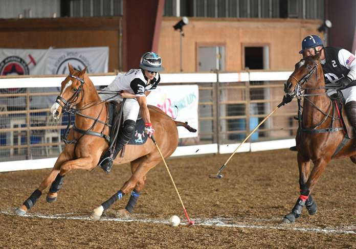 Lance Stefanakis taking the ball on the nearside in the Southwestern Circuit General George S. Patton, Jr.