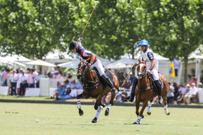 Team USA's Jim Wright on a breakaway to goal in front of a packed crowd at the Sydney Polo Club.