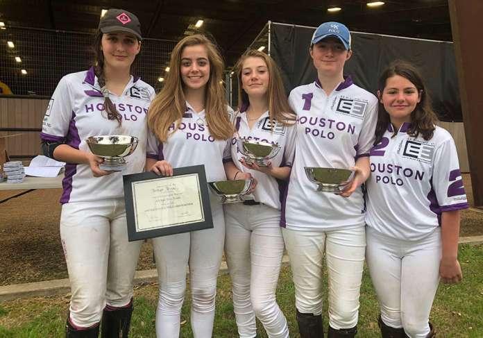 Central Interscholastic Girls' Regional Champions: Houston Polo Club (L to R) Cara Kennedy, Bridget Price, Lillian Lequerica, Abigail Benton, Isabel Artzer