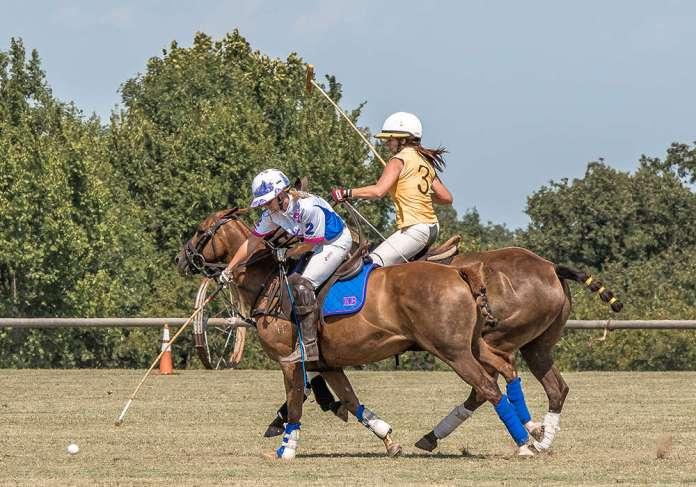 Karson Bizell and Kelly Coldiron competing at OKC Polo Club.