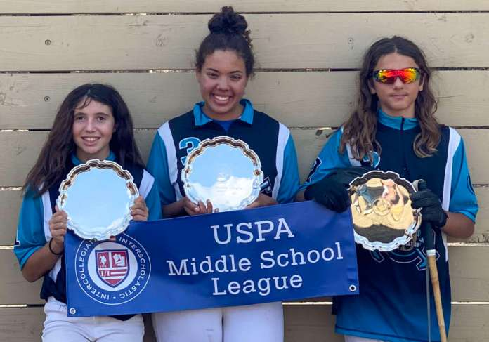 Lakeside Polo Club Middle School Tournament Champions: (L to R) Jordan Pearson, Emerson Bond, Luca Abboud